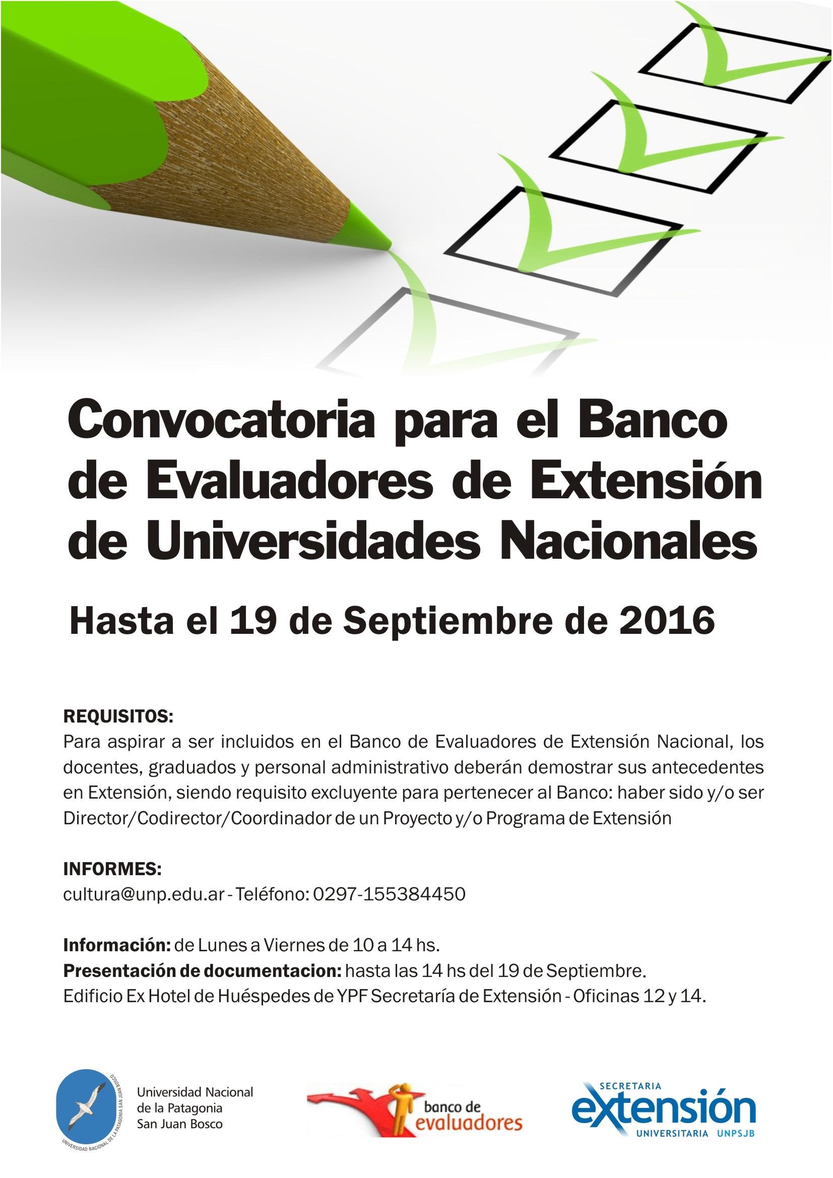 Convocatoria para el banco de evaluadores for Convocatorias para profesores 2016